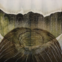 Pohjoinen järvi/ Northern Lake, kohopaino/ relief print, 81x123cm, 2012