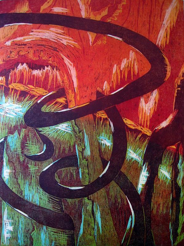 Hulluna rakkaudesta/ Fool for love, puupiirros/ woodcut, 77x58cm, 1993