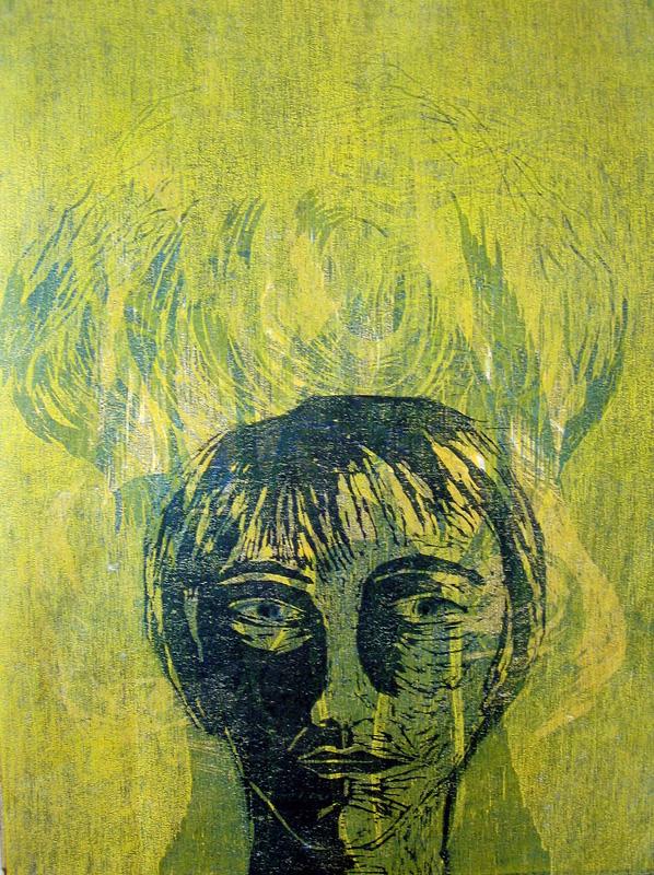 Sarjasta Muunnelmia/ Variations, puupiirros/ woodcut, 40x30cm, 1999