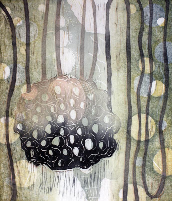 Riipus/ Pendant, kohopaino/ relief print, 44x38cm, 2015