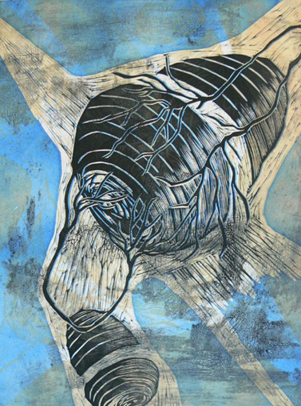 Ajattelematon I/ Thoughtless I, koho-, syväpaino/ relief print, intaglio, 60x46cm, 2007