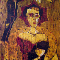 Cocktail-kutsut I/ Cocktailparty I, puupiirros/ woodcut, 78x58cm, 1991