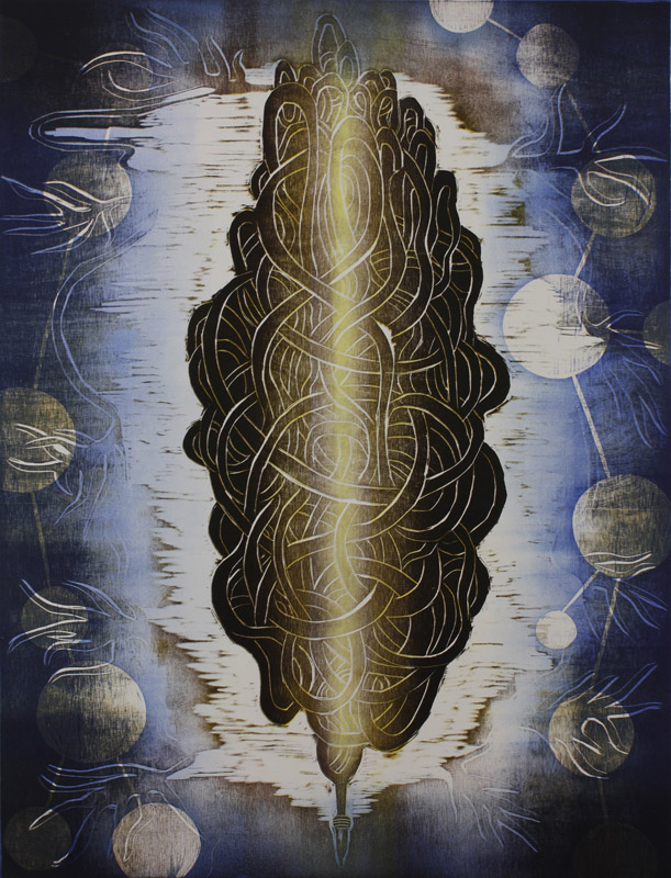 Ajatussolmu/ The Knot of Though, puupiirros/ woodcut, 82x60cm, 2015