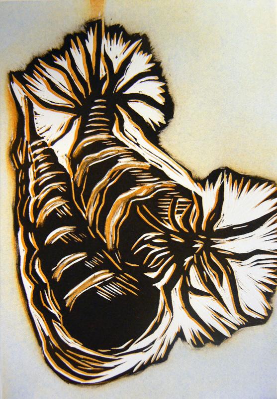 Symbioosi/ Symbiosis, kohopaino/ relief print, 21x14cm, 2007