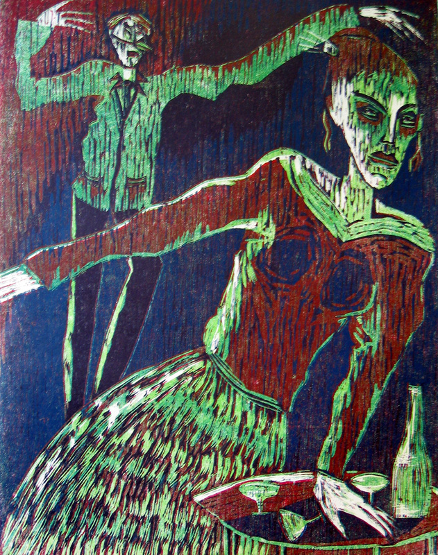 Cocktail-kutsut II/ Cocktailparty II, puupiirros/ woodcut, 78x58cm, 1991