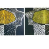 Kaksoset/ Twins, koho-, syväpaino/ relief print, intaglio, 2 osaa/ 2 parts, á 60x90cm, 2007