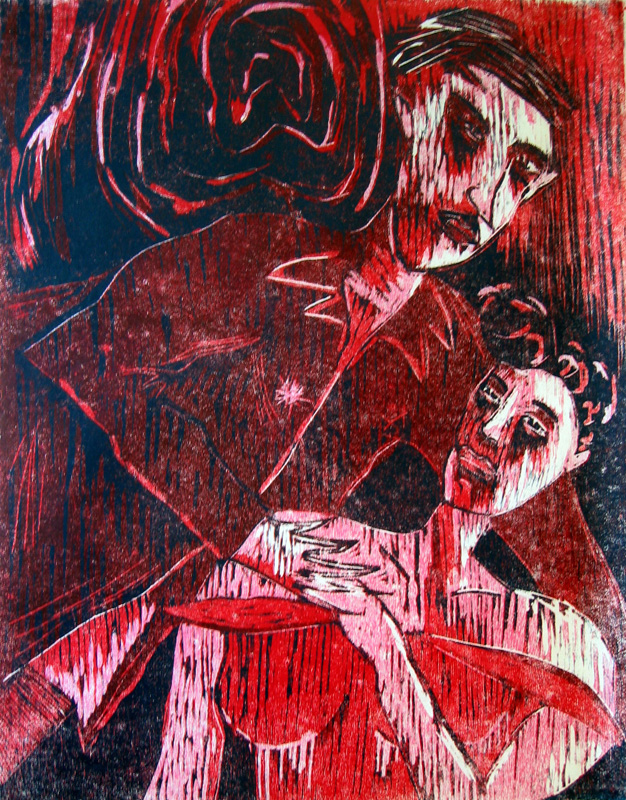 Cocktail-kutsut III/ Cocktailparty III, puupiirros/ woodcut, 78x58cm, 1991