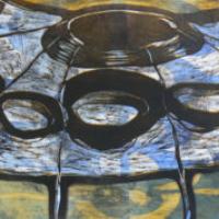 Ääntä nopeampi/ Supersonic, koho-, syväpaino/ relief print, intaglio, 50x83cm, 2007