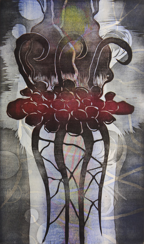 Oraakkeli/ Oracle, puupiirros/ woodcut, 82x51cm, 2015