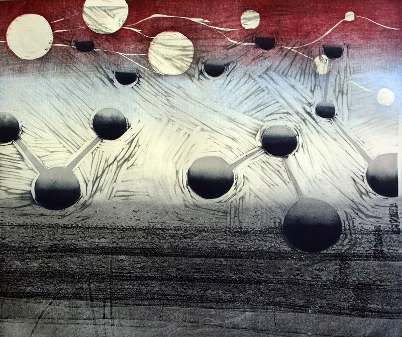 Myrsky/ Storm, koho-, syväpaino/ relief print, intaglio, 39x43cm, 2015