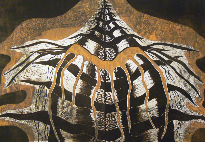 Yrityksiä lentää/ Efforts to Fly, koho-, syväpaino/ relief print, intaglio, 81x123cm, 2007