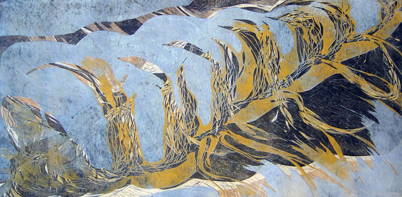 Kätketty/ Concealed, kohopaino/ relief print, 61x123cm, 2006