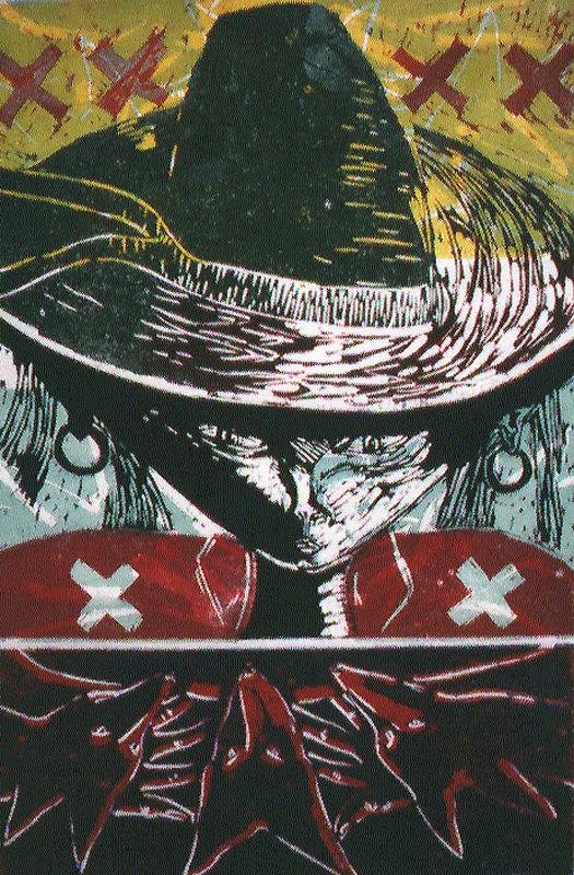 Sombrero, lino/linocut, 67x44cm, 1990