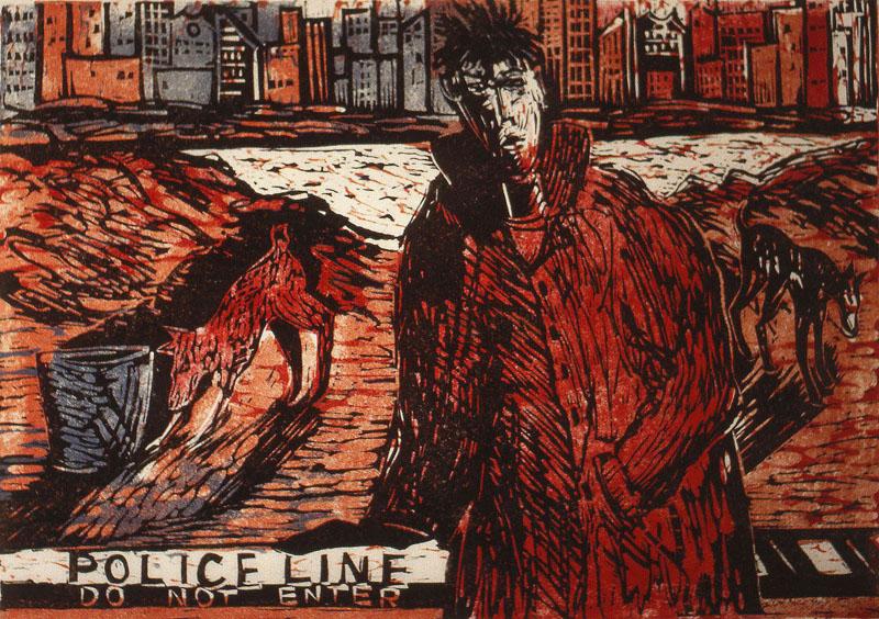 Der Himmel über New York, lino/linocut, 1988