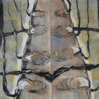 Kommunikaatiokatkos/ Communication Break, puupiirros/ woodcut, 81x123cm, 2006