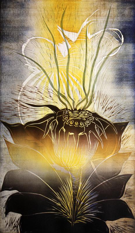 Päivänsäde/ Sunshine, kohopaino/ relief print, 82x51cm, 2013