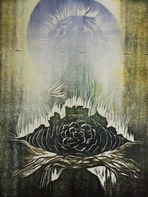 Halla/ Frost, puupiirros/ relief print, 60x46cm, 2011