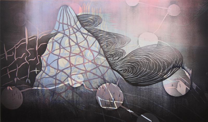 Sokerivuori/ Sugar Mountain, kohopaino/ relief print, 50x85cm, 2014