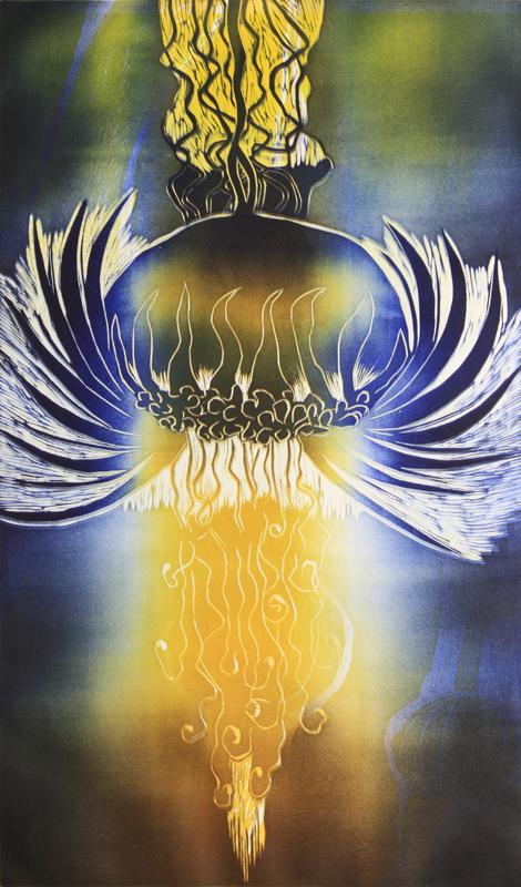 Juhlat/ Celebration, kohopaino/ relief print, 82x51cm, 2012