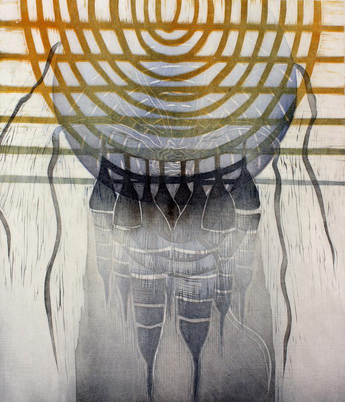 Kehä/ Circle, kohopaino/ relief print, 44x38cm, 2015