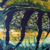 Meren Hedelmät/ The Fruit of the Sea, puupiirros/ woodcut, 77x58cm, 1993