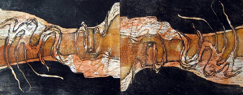 Suistoalue II/ Delta II, puupiirros/ woodcut, 41x100cm, 2004