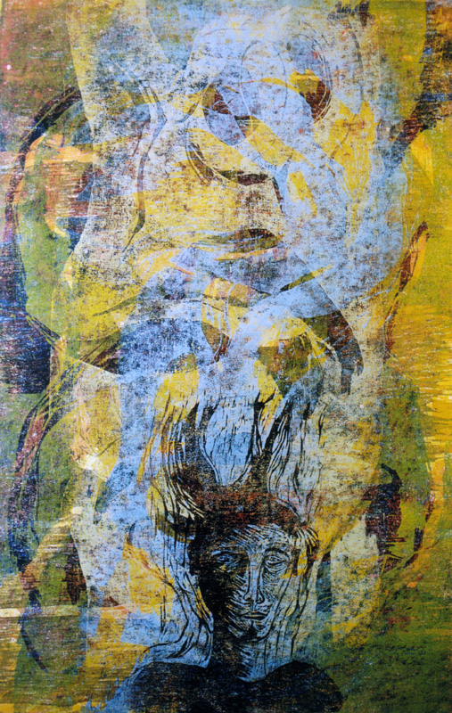 Sumeita ajatuksia/ Misty Thoughts, puupiirros/ woodcut, 84x58cm, 2001