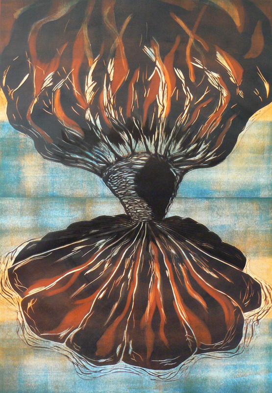 Saari/ Island, kohopaino/ relief print, 2008
