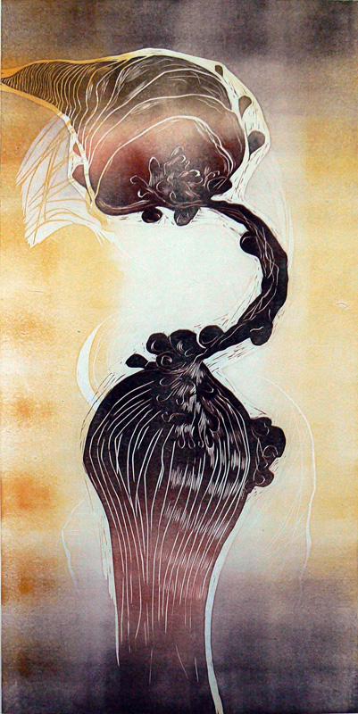 Kohtaamisia/ Encounters, kohopaino/ relief print, 123x60cm, 2009