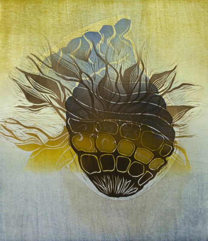 Kilpi/ The Shield,kohopaino/ relief print, 44×38 cm, 2014