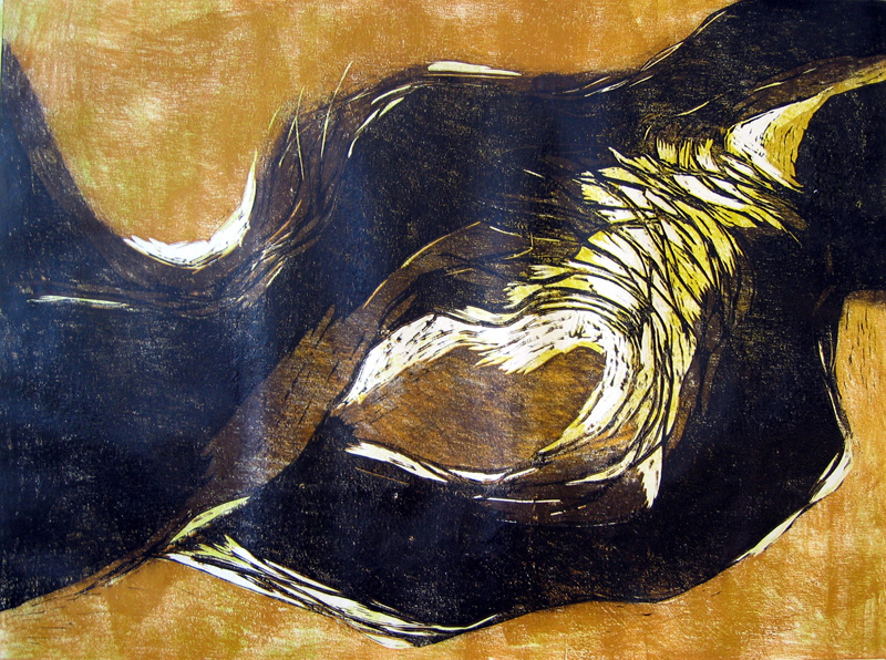 Syvänne/ Abyss, puupiirros/ woodcut, 61x81cm, 2005