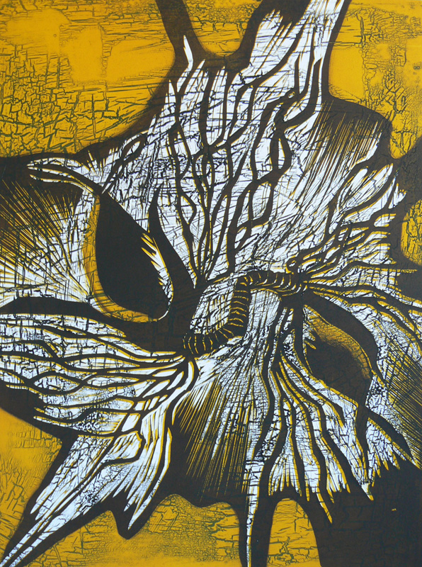 Rautakukat I/ Iron Flowers I, kohopaino/ relief print, 50x37cm, 2007