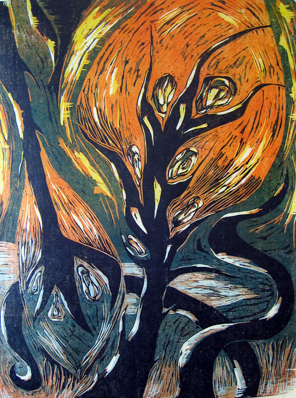 Tuhkasta tuleen/ From the Ashes to Fire, puupiirros/ woodcut, 77x58cm, 1993