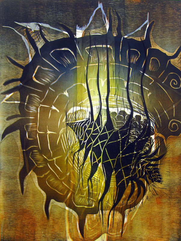 Halkaistu/ Split, kohopaino/ relief print, 60x46cm, 2013