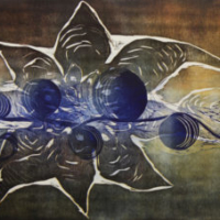 Tasapainoilua/ Balancing, kohopaino/ relief print, 47x60cm, 2012