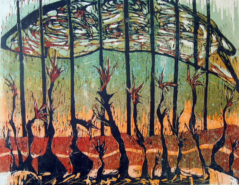 Kasvihuone/ Greenhouse, puupiirros/ woodcut, 55x70cm, 1992
