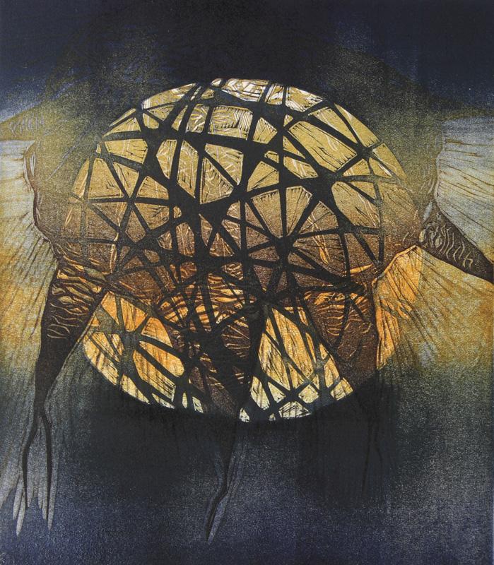 Maailma I, World I, kohopaino/ relief print, 44x38cm, 2011