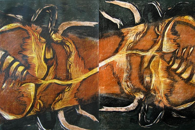 Välilasku/ Stopover, puupiirros/ woodcut, 81x123cm, 2004