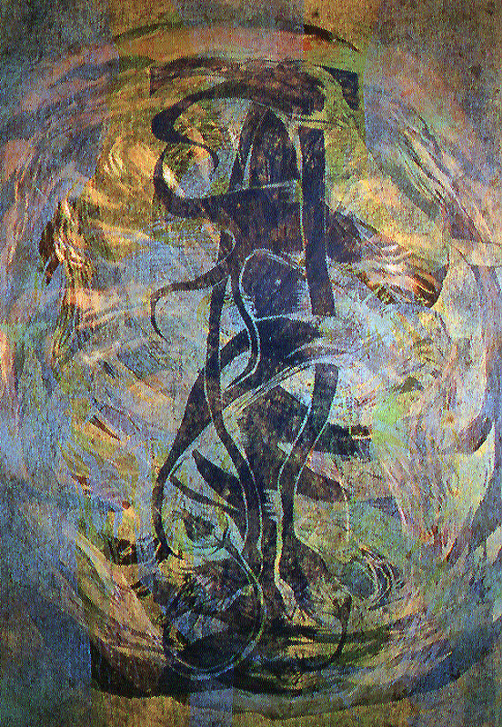 Virrassa/ Streaming, puupiirros/ woodcut, 84x58cm, 1999