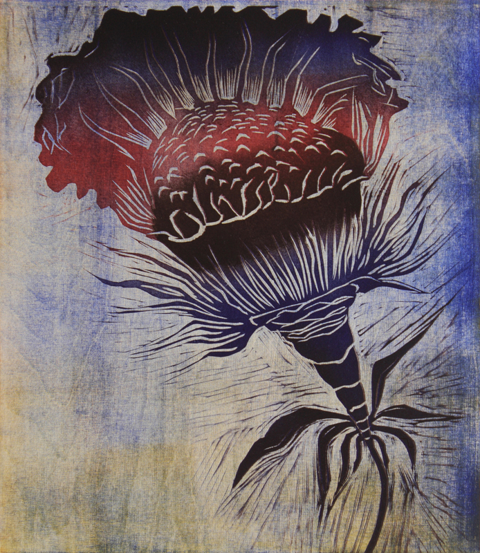 Lentoon/ Fly, kohopaino/ relief print, 44x38cm, 2013