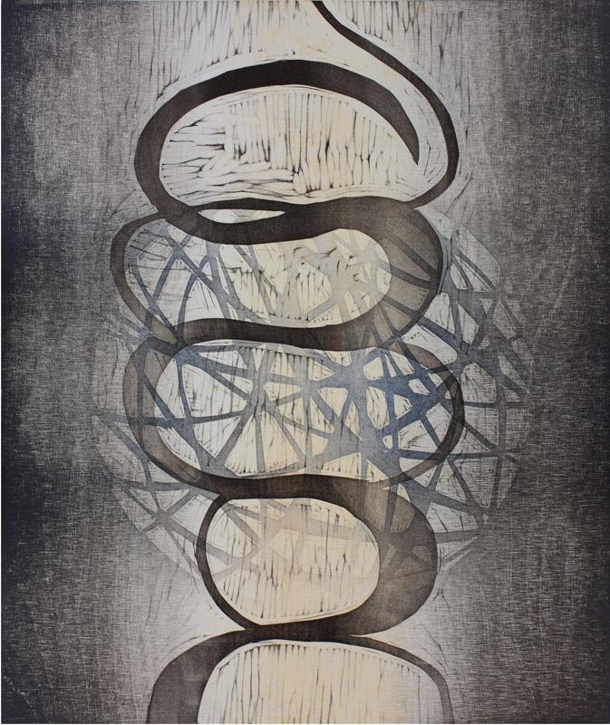Viileä kesäpäivä/ Cool Summer Day, kohopaino/ relief print, 44x38cm, 2014