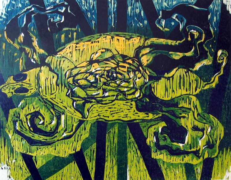 Kilpikonna/ Turtle, puupiirros/ woodcut, 55x70cm, 1992