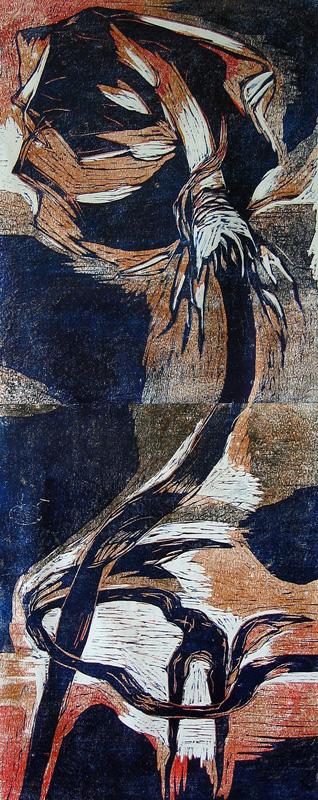 Päättymätön tarina/ Never Ending Story, puupiirros/ woodcut, 102x40cm, 2004