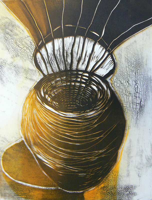 Ruukun henki I/Spirit of the Pot, koho-, syväpaino/ relief print, intaglio, 38x30cm, 2008