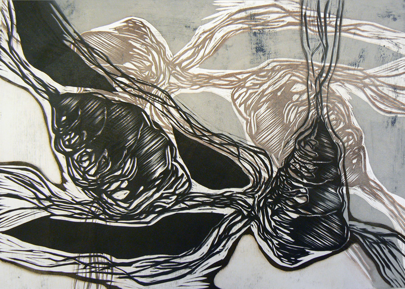 Uni/ Sleep, koho-, syväpaino/ relief print, intaglio, 38x50cm, 2007