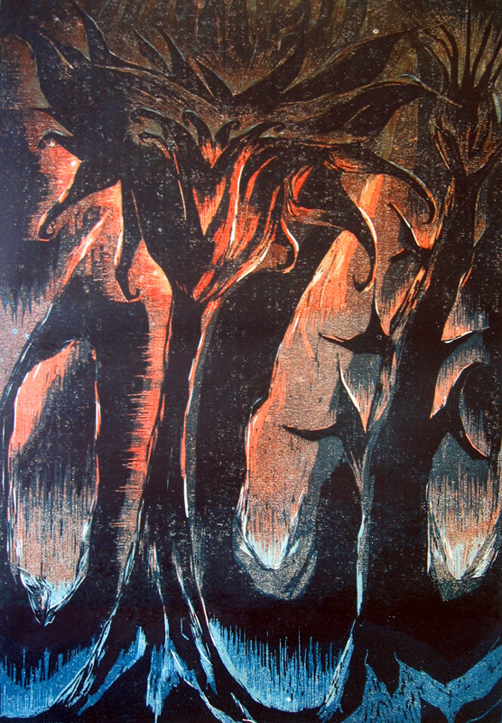 Tulilatva/ Flaming Katy, puupiirros/ woodcut, 84x58cm, 1997