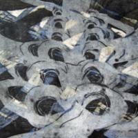 Kivettynyt muisto II/Petrified Relic II, puupiirros/woodcut, 35x50cm, 2005