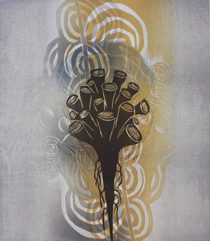 Kaiku/ The echo, kohopaino/ relief print, 44x38cm, 2014