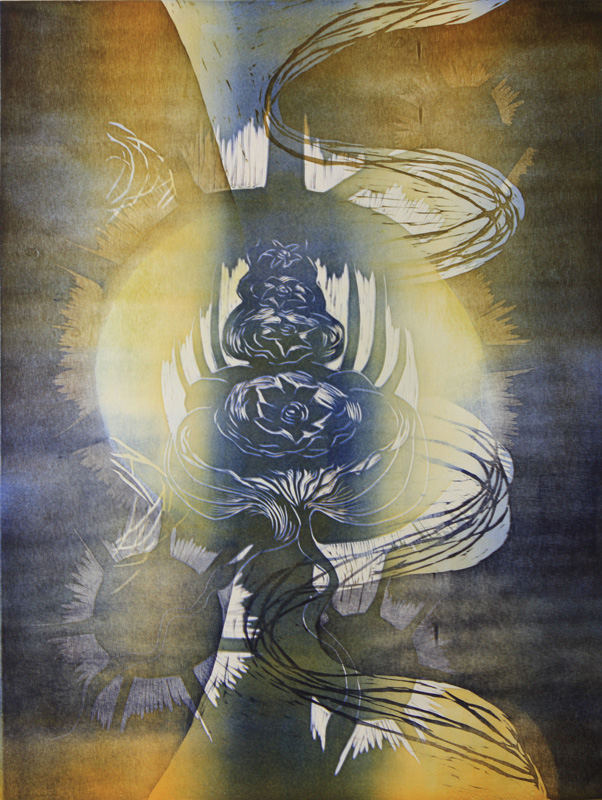 Tarkkailua/ Observation, kohopaino/ relief print, 84x61cm, 2011