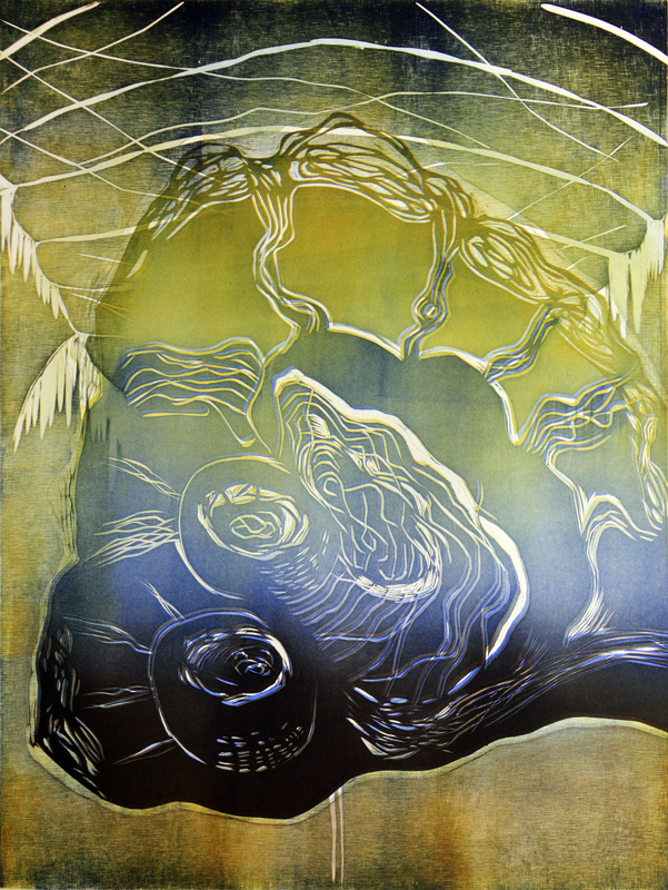 Uninen/ Sleepy, kohopaino/ relief print, 61x45cm, 2012